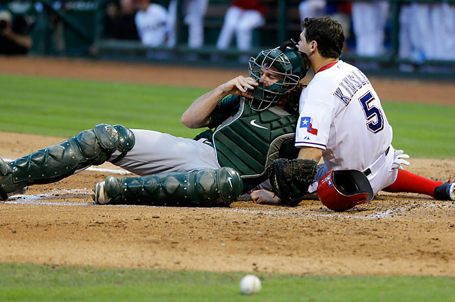 Ian Kinsler received stitches before the start of the fourth inning after a collision with John Jaso.