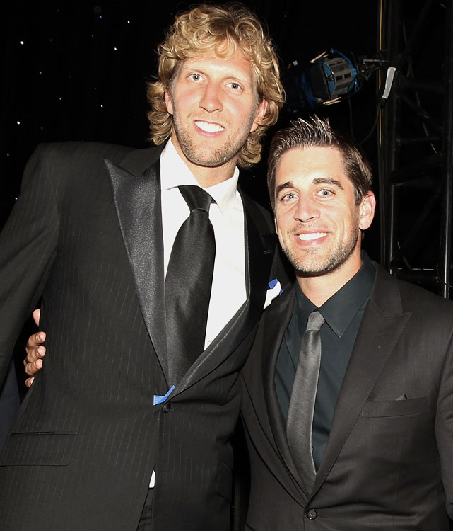 Nowitzki and Rodgers pose backstage at the ESPY Awards at the Nokia Theatre in Los Angeles.