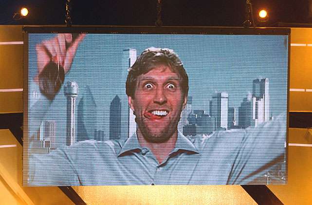 Nowitzki reacts live via satellite from the United States after being awarded 'Athlete of the Year 2011' at the Kurhaus Baden-Baden in Germany.