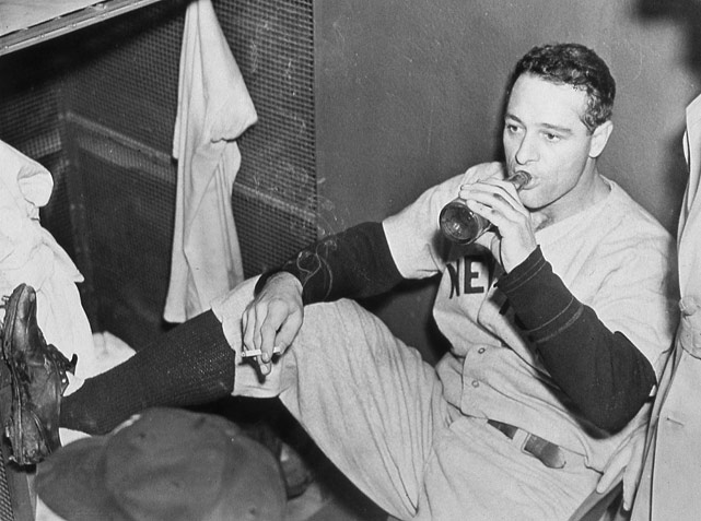 Gehrig enjoys a beer and a cigarette after a game in Detroit in 1936.