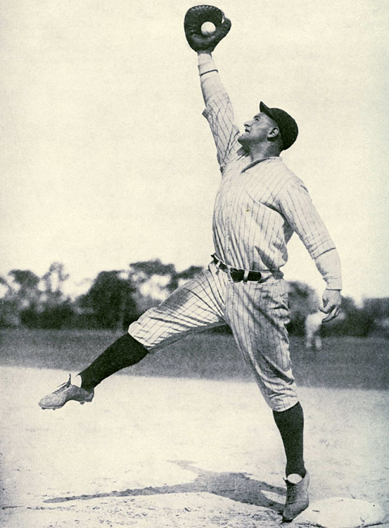 Gehrig stretches to make a catch at the Yankees' spring training facility in St. Petersburg, FL, in March 1928.