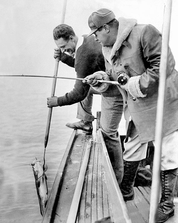 Lou Gehrig and Babe Ruth fishing in Dec. 1938.