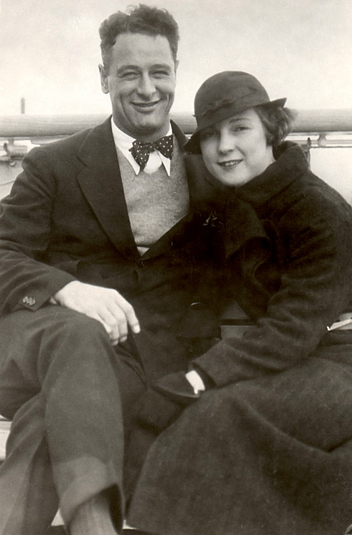 Lou and Eleanor Gehrig pose on the Liner Empress of Japan in Oct. 1934.