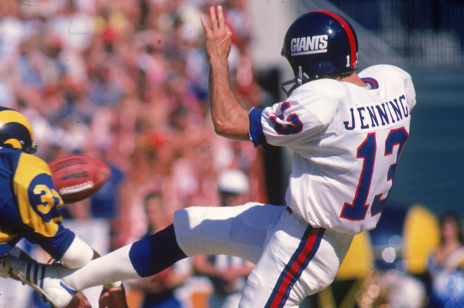 Jennings holds Giants franchise records for punts and yards, and was part of the team's Ring of Honor.