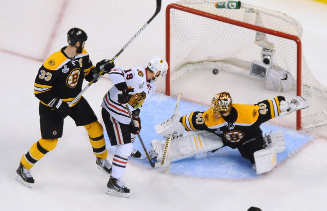Tuukka Rask gave up six goals, including the game-winner in overtime, as Chicago evened the series.