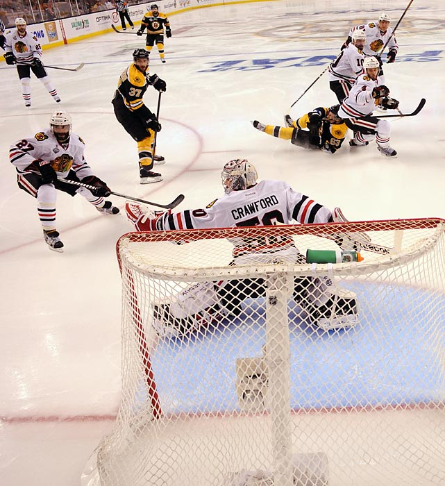 Blackhawks goaltender Corey Crawford had a shaky night. The Bruins seemed to figure him out, beating him to his glove side on all five of their goals.