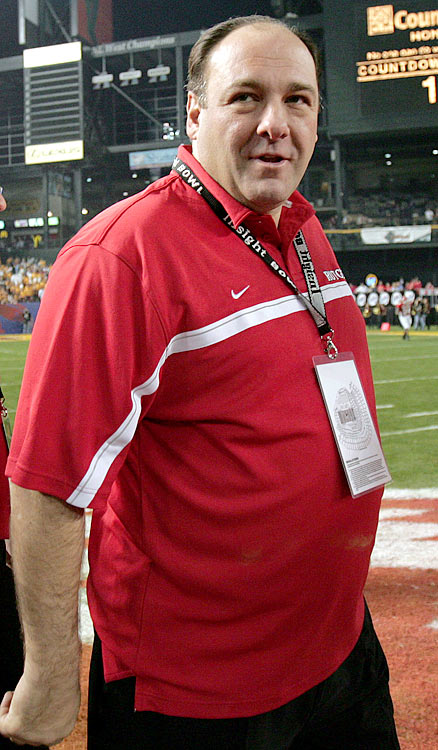 James Gandolfini leaves the field after the coin toss prior to the start of the Insight Bowl game between Rutgers and Arizona State in Phoenix, AZ. Rutgers lost 45-40.