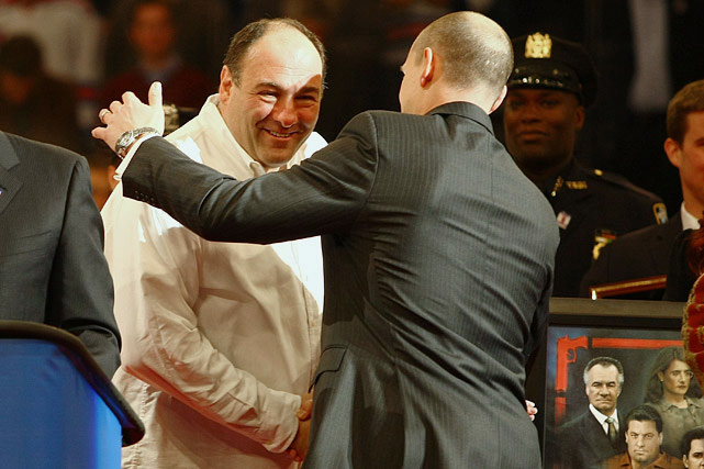 James Gandolfini greets former New York Rangers player Adam Graves during a ceremony retiring his jersey prior to a game between the New York Rangers and the Atlanta Thrashers at Madison Square Garden in New York City. The Rangers lost 2-1 in a shootout.