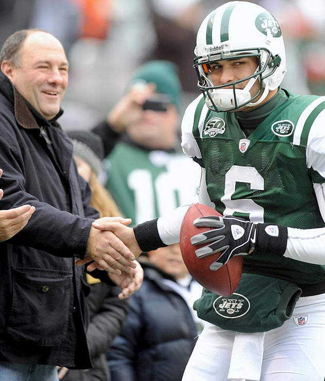 James Gandolfini shakes hands with New York Jets quarterback Mark Sanchez before a game against the Buffalo Bills at Giants Stadium in East Rutherford, NJ. The Jets lost 16-13 in overtime.