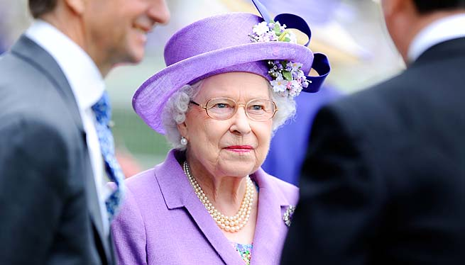 Queen Elizabeth II smiles as she attends Ladies' Day during day three of Royal Ascot on Thursday.