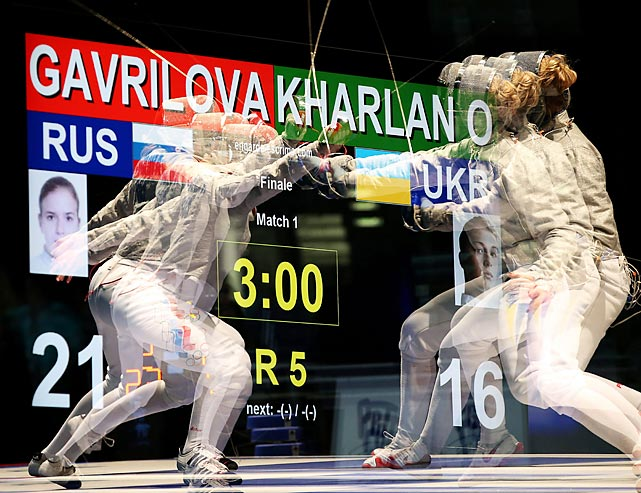 Yulia Gavrilova (left) of Russia against Olga Kharlan of Ukraine in the final of the women's team sabre competition in Zagreb, Croatia -- as they might have been envisioned by the late Owsley Stanley.