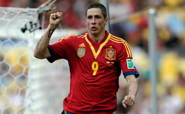Fernando Torres celebrates after scoring the first of his four goals during Spain's 10-0 win over Tahiti.