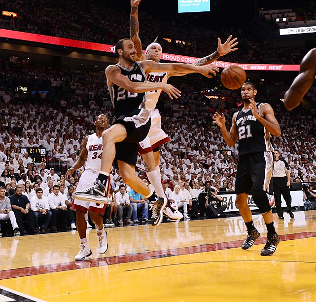 Manu Ginobili passes after driving past the Chris Andersen.
