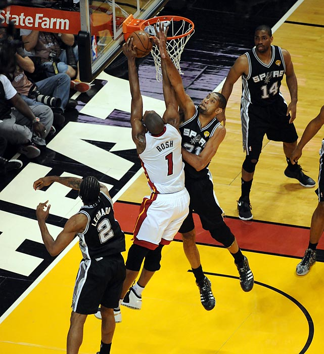 Chris Bosh fights for a layup as Tim Duncan applies pressure.