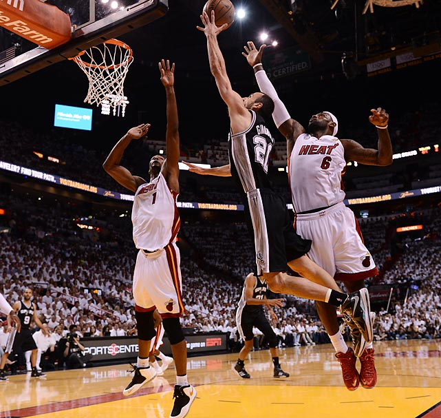 Manu Ginobili attempts a layup over Chris Bosh and LeBron James.