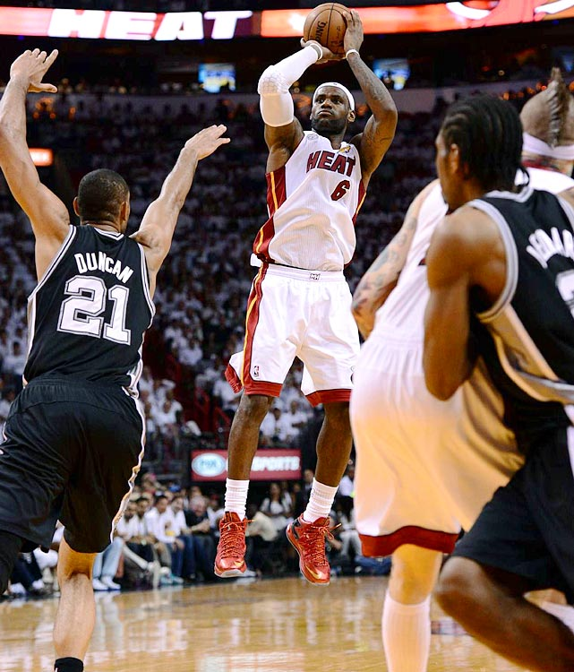 LeBron James pulls up for a jumper. James was 12-23 from the field and 5-10 from three-point range.