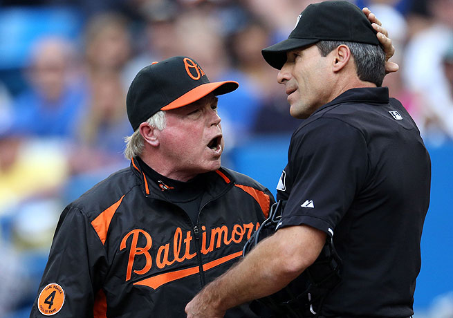 Baltimore manager Buck Showalter took exception to a call by Angel Hernandez against the Blue Jays.