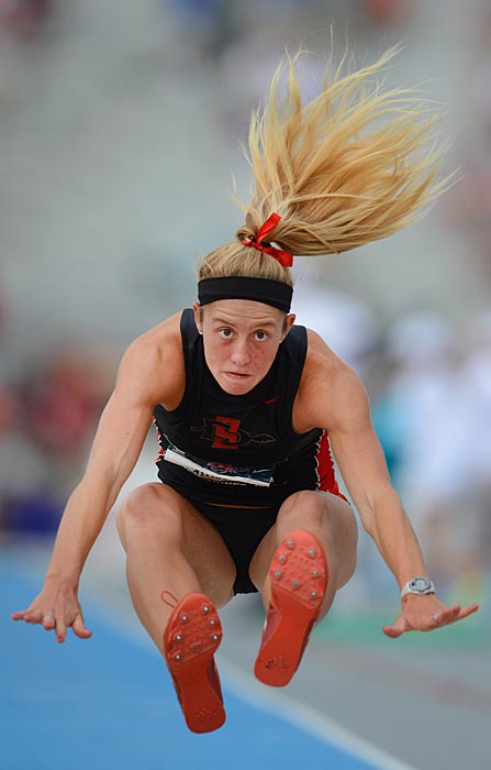 Allison Reasor competes in the heptathlon long jump.