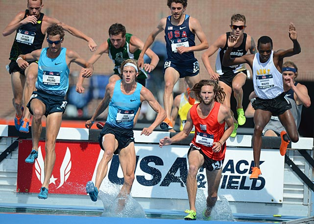 The men make a splash in the 3,000-meter steeplechase.