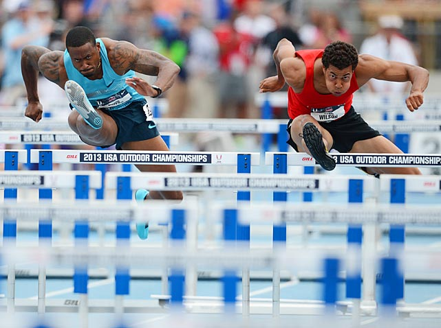 Ryan Wilson (right) beat David Oliver (left) and the rest of the field to the tape in the finals of the 110-meter hurdles.