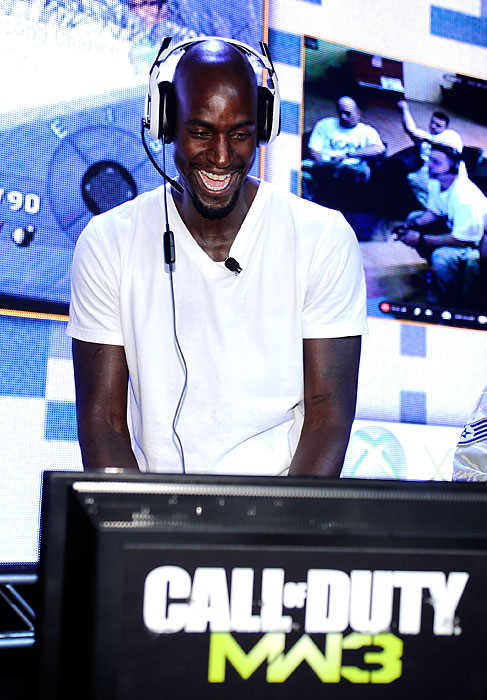 Garnett battles it out at the first ever Call of Duty XP at the Stages at Playa Vista in Los Angeles.