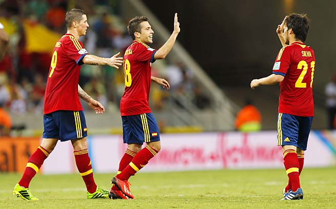 Fernando Torres (left to right), Jordi Alba, David Silva and Co. get Italy in the semifinals.