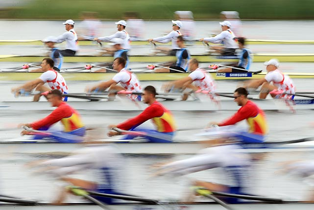 Different countries compete in a Quadruple Sculls heat during the first day of the 2013 Samsung World Rowing Cup II on June 21 in Windsor, England.