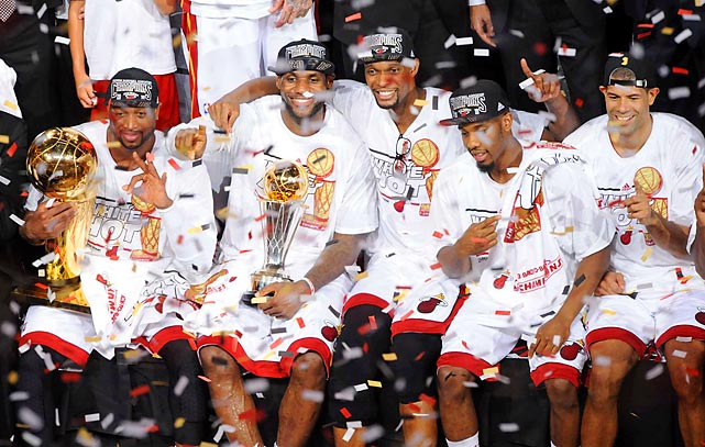 The Miami Heat celebrate their second consecutive NBA championship after defeating the San Antonio Spurs in seven games.