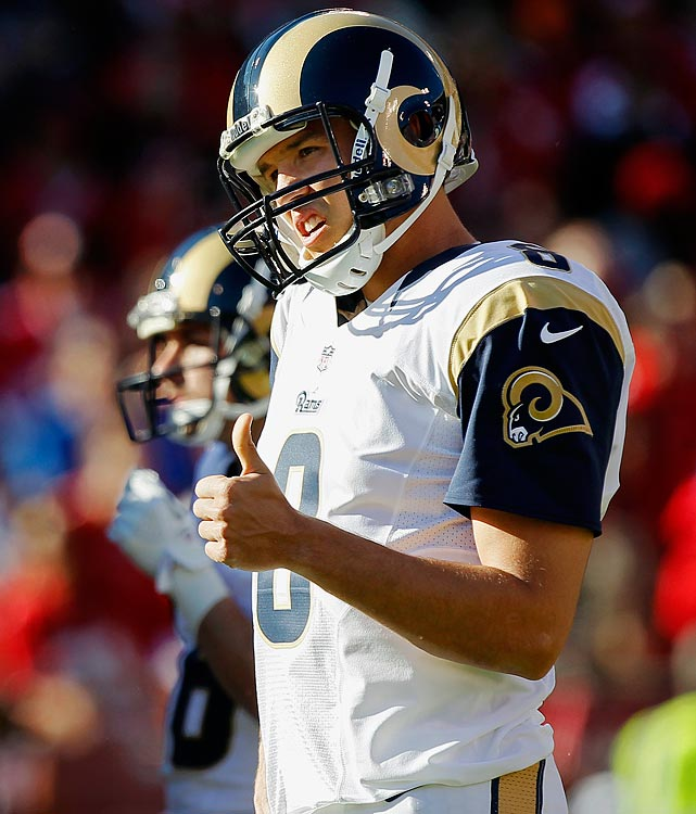 Sam Bradford signed a huge six-year, $78 million deal after being drafted by the Rams. Bradford was named Offensive Rookie of the Year while establishing a number of rookie QB records. He beat Peyton Manning's records for completions (326) and attempts (590) by a rookie. Bradford became the third rookie in NFL history to start every game and pass over 3,000 yards, along with Manning and Matt Ryan.