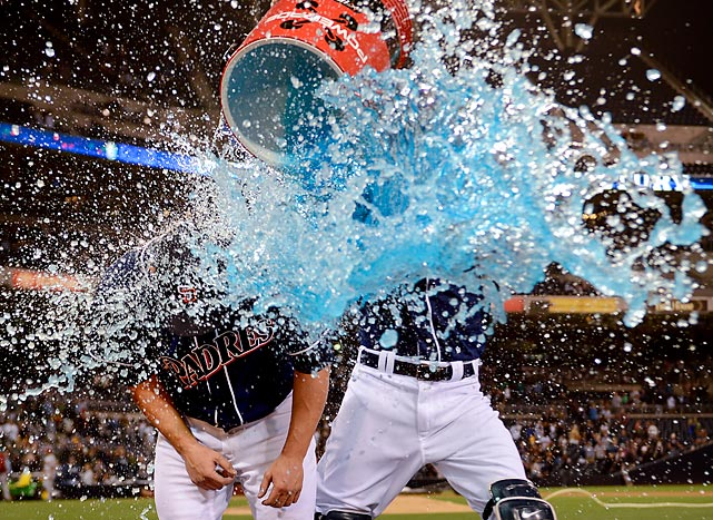 Nick Hundely (right) douses Eric Stults of the San Diego Padres after their game against the Arizona Diamondbackas at Petco Park.