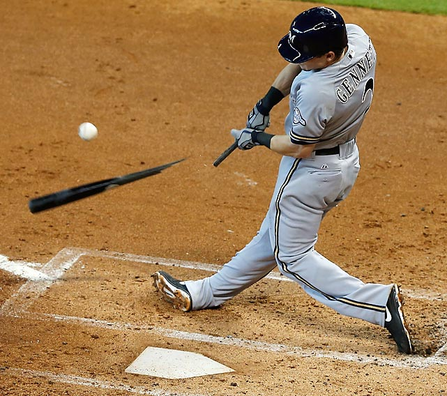 Scooter Gennett of the Milwaukee Brewers breaks his bat in the second inning during a game against the Houston Astros at Minute Maid Park on June 20.