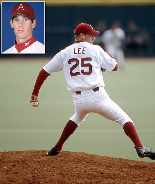 Here are some classic photos of Cliff Lee, who has played for the Indians, Mariners, Rangers and Phillies (two stints) since joining the majors in 2003. Though he was drafted in 1997 and 1998, Cliff Lee chose to spend two years at Meridian Community College before pitching for the University of Arkansas in 2000. Lee went 4-3 with a 4.45 ERA in his one year with the Razorbacks.