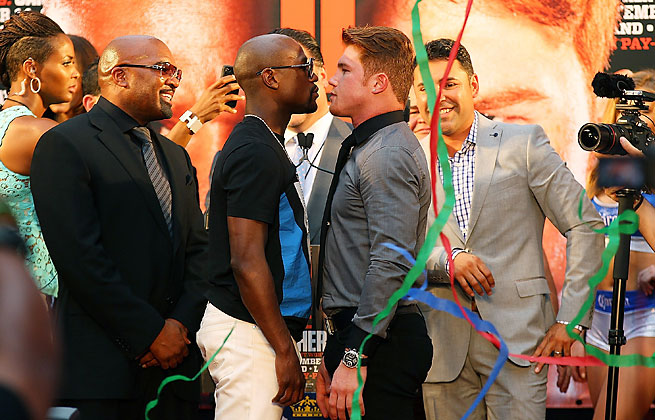 "Floyd Mayweather and ""Canelo"" Alvarez are on an 11-city tour that will end in their September fight."