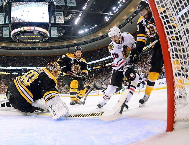 Chicago's Dave Bolland (36) slaps home the game-winner at the 19:01 mark of the third period in Game 6 of the Stanley Cup Finals. The Blackhawks scored twice in a 17-second span in the final 1:16 to take the series 4-2 and win their second title in four years.