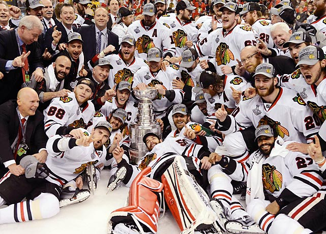The Chicago Blackhawks celebrate with the Stanley Cup after defeating the Boston Bruins, 3-2, in Game 6. Patrick Kane (88) was awarded the Conn Smythe Trophy as playoff MVP with his team-high 19 points paving the way for Chicago.