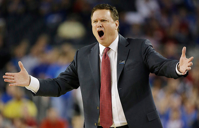 Bill Self was reprimanded by the NCAA and fined after damaging the scorers table during Kansas' third-round win over North Carolina.