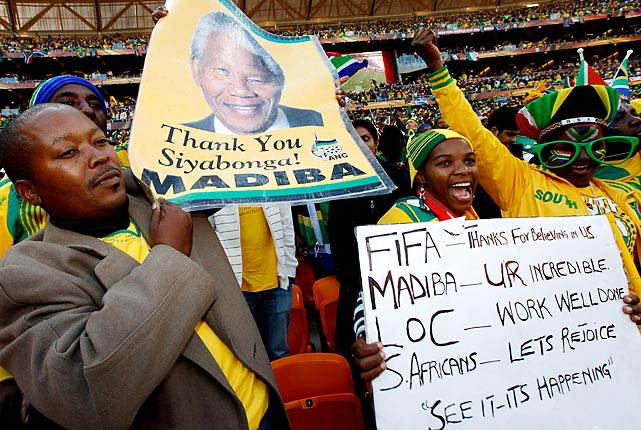 Spectators at the Opening Ceremony of the World Cup thank Mandela for his influence in bringing the tournament to South Africa.