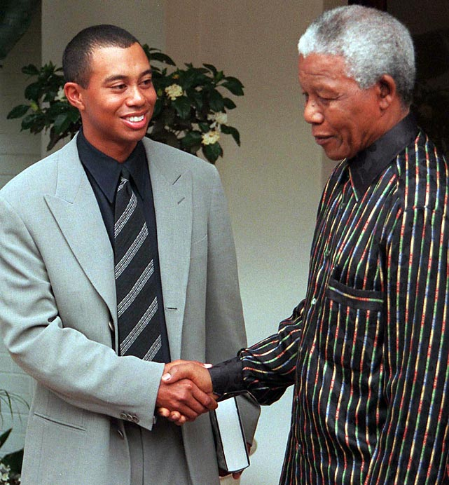 Mandela and Tiger Woods spent some time together when the golfer was in the country for the Million Dollar Golf Challenge at Sun City.