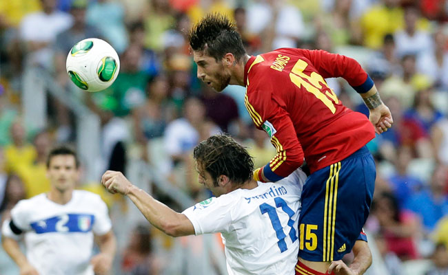 Sergio Ramos goes up for a header against Italy during Thursday's Confederations Cup semifinal match.