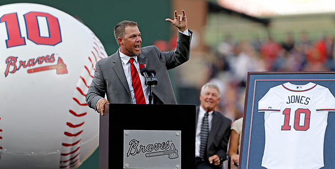 Chipper Jones returned to Atlanta to celebrate the retirement of his number just a year after retiring.