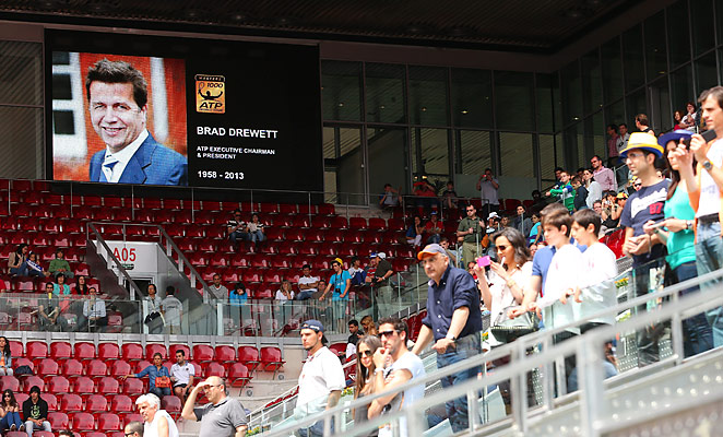 Spectators observe a moment of silence for Drewitt at the Mutua Madrid Open after his death in May.