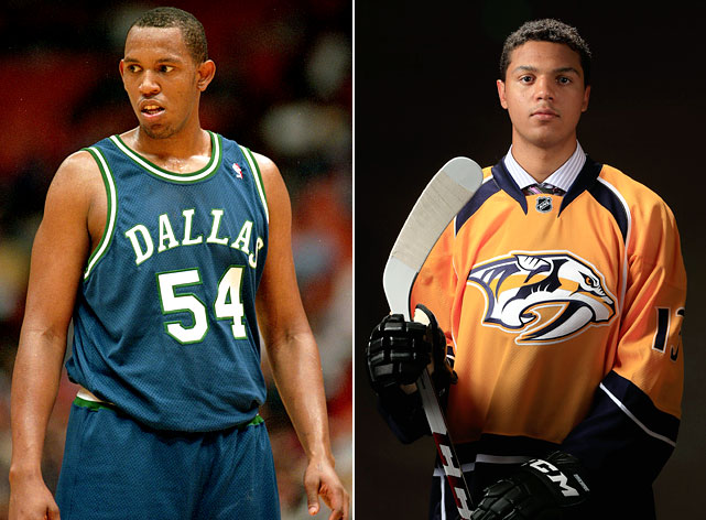 Popeye Jones played 11 seasons in the NBA, leading the league in offensive rebounds during the 1994-95 season. His son, Seth, was the top defenseman taken in the 2013 NHL draft, selected 4th overall by the Nashville Predators. Here are some others who took up a different sport than their fathers.