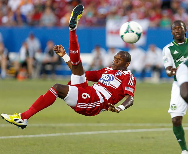 FC Dallas defender Jackson attempts a bicycle kick on goal during a match with the Portland Timbers.
