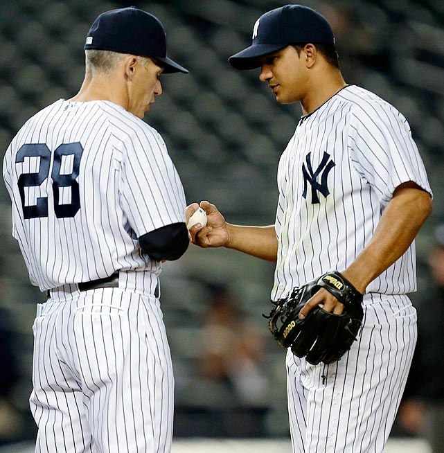 Phil Hughes was knocked out after giving up seven runs in the first inning of this game against the Mariners, and rookie Brett Marshall saved the bullpen with 5 2/3 innings of relief, but when Marshall appeared to run out of gas after 108 pitches, Yankees manager Joe Girardi turned to Gonzalez to finish the job with two out and two on in the ninth and the Yankees trailing 12-2. He also sent Vernon Wells out to second base to facilitate shortstop Gonzalez's move to the mound. Gonzalez fell behind fellow infielder Robert Andino 3-and-1 before getting him to fly out to shallow right-center to strand both runners.