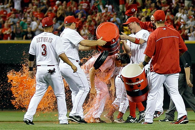 Homer Bailey is doused by teammates following his no-hitter in the Reds 3-0 win over the Giants.