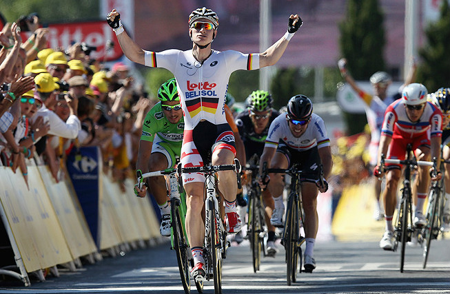 Andre Greipel held off challenges from Peter Sagan and Marcel Kittel to win the sixth stage of the Tour de France.