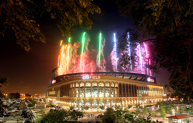 Fireworks explode over Citi Field after Wednesday night's game between the Mets and Diamondbacks. Mets fans outlasted a long rain delay and a loss before being rewarded with fireworks.