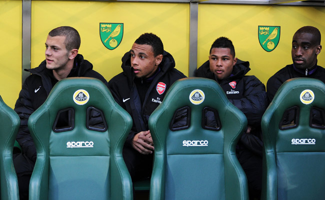 Arsenal's Francis Coquelin (second from left) and Johan Djourou (far right) have been sent on loan to Germany.