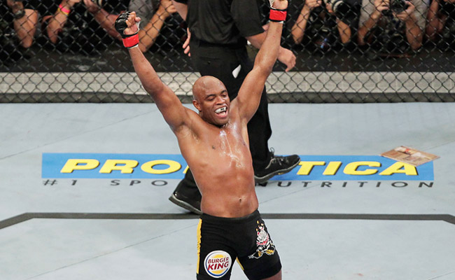 Anderson Silva celebrates after once again successfully defending his UFC middleweight title -- this time against Yushin Okami in August 2011.