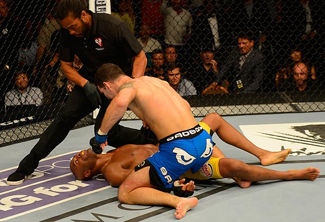 Silva was defenseless as referee Herb Dean pulled Weidman away.